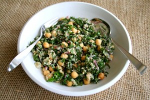 Lemony Garbanzo Kale Salad